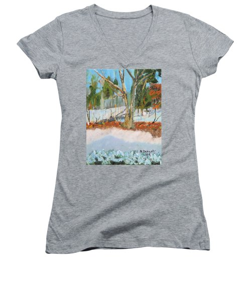 Trees And Snow Plein Air Women's V-Neck (Athletic Fit)