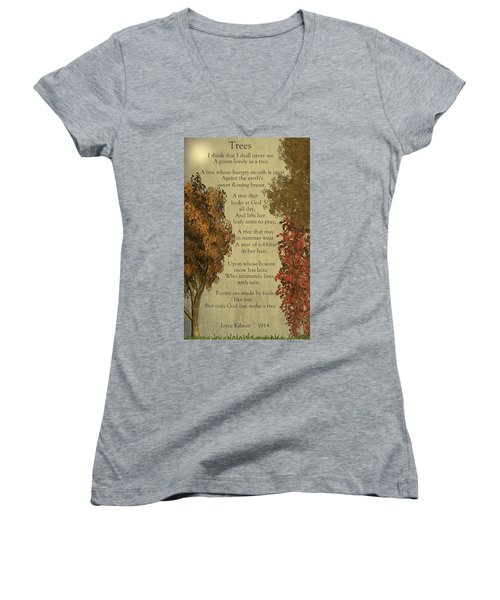 Trees Women's V-Neck T-Shirt (Junior Cut) by David Dehner