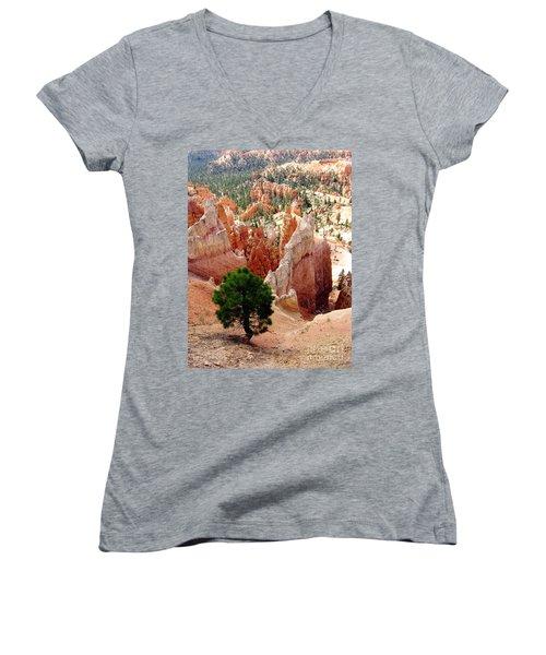 Women's V-Neck T-Shirt (Junior Cut) featuring the photograph Tree's Eye View by Meghan at FireBonnet Art