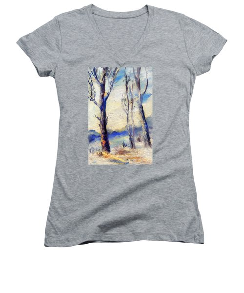 Trees In Winter Women's V-Neck (Athletic Fit)