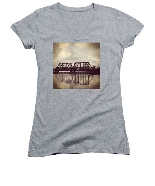 Trestle On The Pamlico River Women's V-Neck (Athletic Fit)