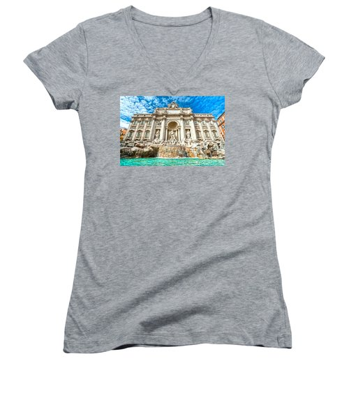 Trevi Fountain - Rome Women's V-Neck T-Shirt
