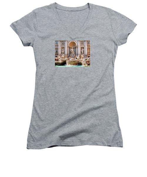 3 Coins Trevi. Rome Women's V-Neck T-Shirt (Junior Cut) by Jennie Breeze