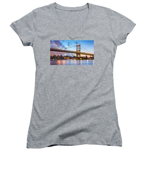 Triboro Bridge At Dusk Women's V-Neck T-Shirt (Junior Cut) by Mihai Andritoiu