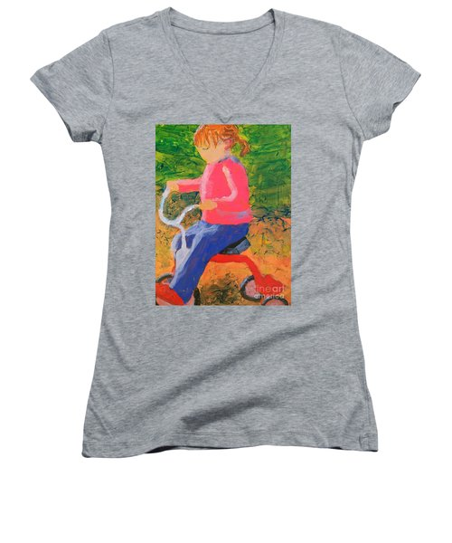 Women's V-Neck T-Shirt (Junior Cut) featuring the painting Tricycle by Donald J Ryker III
