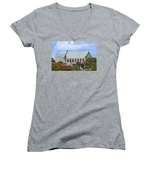 Trinity Church Women's V-Neck T-Shirt (Junior Cut) by Kristin Elmquist