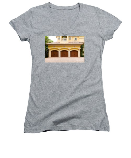 Triple Garage Doors Women's V-Neck (Athletic Fit)