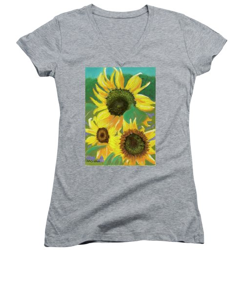 Women's V-Neck T-Shirt (Junior Cut) featuring the painting Triple Gold by Arlene Crafton