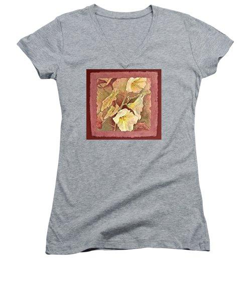 Triple White Women's V-Neck T-Shirt (Junior Cut) by Carolyn Rosenberger