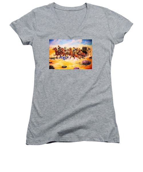 Troopers Stopping A Runaway Coach Women's V-Neck (Athletic Fit)