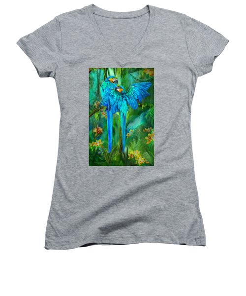 Women's V-Neck T-Shirt featuring the mixed media Tropic Spirits - Gold And Blue Macaws by Carol Cavalaris