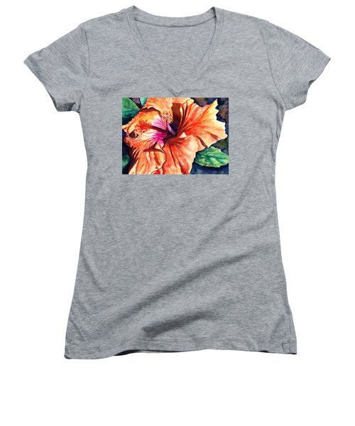 Tropical Hibiscus Women's V-Neck T-Shirt (Junior Cut) by Marionette Taboniar