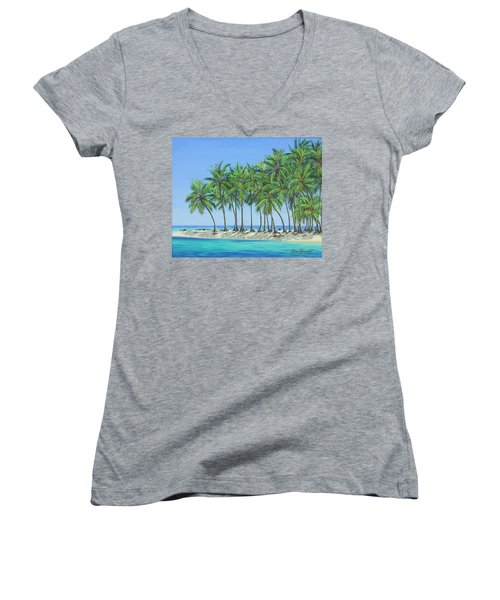 Women's V-Neck T-Shirt (Junior Cut) featuring the painting Tropical Lagoon by Jane Girardot