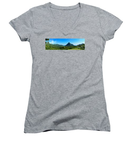 Tropical Moorea Panorama Women's V-Neck T-Shirt (Junior Cut) by IPics Photography