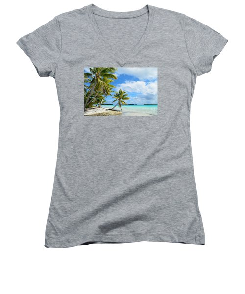 Tropical Beach With Hanging Palm Trees In The Pacific Women's V-Neck T-Shirt (Junior Cut) by IPics Photography