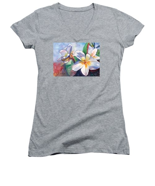 Tropical Plumeria Flowers Women's V-Neck T-Shirt