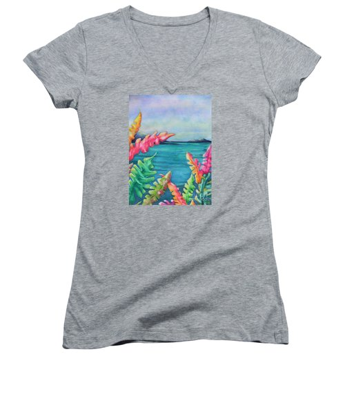 Tropical Scene Women's V-Neck T-Shirt