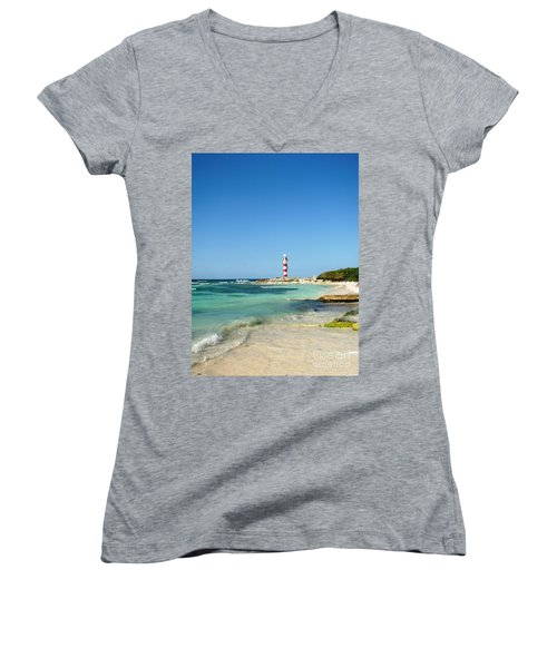 Tropical Seascape With Lighthouse Women's V-Neck