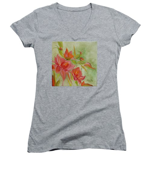 Tropical Splash Women's V-Neck T-Shirt (Junior Cut) by Judith Rhue