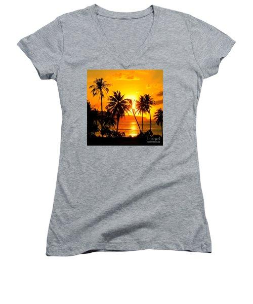 Tropical Sunset Women's V-Neck T-Shirt (Junior Cut) by Scott Cameron