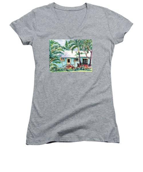Women's V-Neck T-Shirt (Junior Cut) featuring the painting Tropical Vacation Cottage by Marionette Taboniar