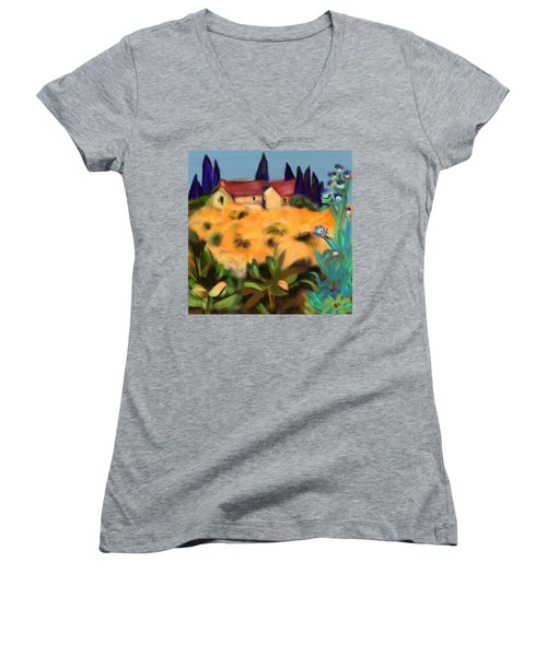 Tropical View Women's V-Neck T-Shirt (Junior Cut) by Christine Fournier