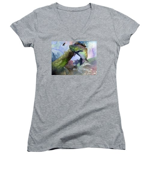 Trout And Fly Women's V-Neck