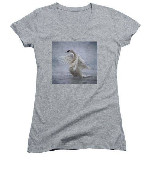 Trumpeter Swan - Misty Display Women's V-Neck T-Shirt (Junior Cut) by Patti Deters