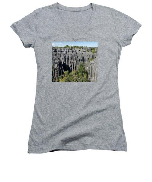 Tsingy De Bemaraha Madagascar 1 Women's V-Neck T-Shirt