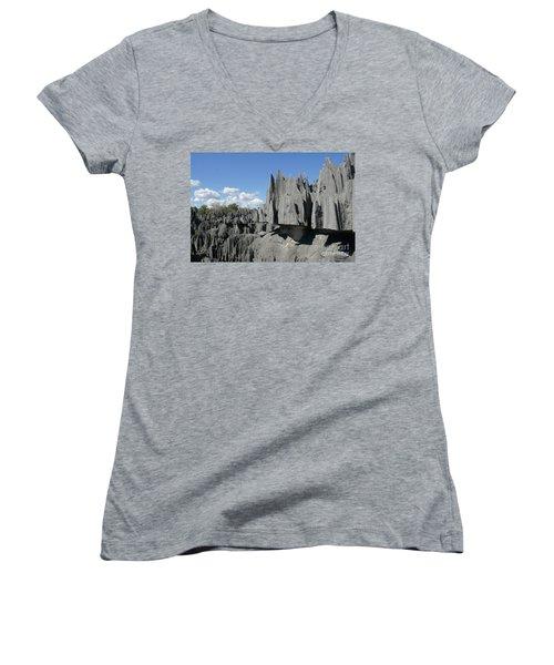 Tsingy De Bemaraha Madagascar 2 Women's V-Neck T-Shirt (Junior Cut) by Rudi Prott