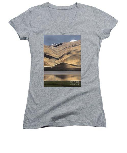 Golden Light Tso Moriri, Karzok, 2006 Women's V-Neck T-Shirt (Junior Cut) by Hitendra SINKAR