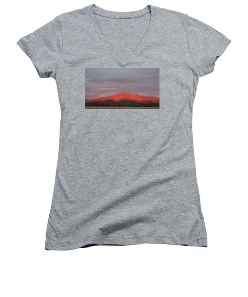 Women's V-Neck T-Shirt (Junior Cut) featuring the photograph Tucson Mountains by David S Reynolds