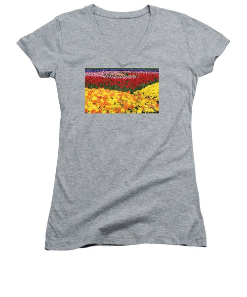 Women's V-Neck T-Shirt (Junior Cut) featuring the digital art Tulip Field by Tim Gilliland
