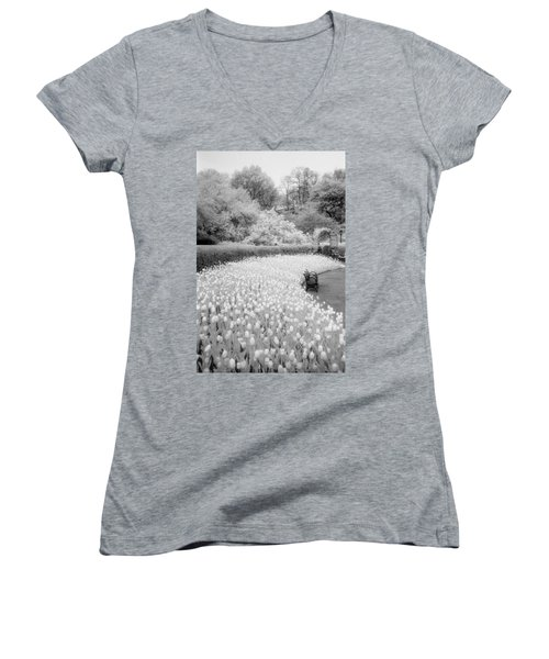 Tulips And Bench II Women's V-Neck
