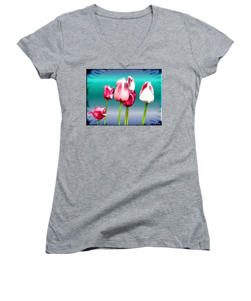 Women's V-Neck T-Shirt (Junior Cut) featuring the digital art Tulips by Daniel Janda