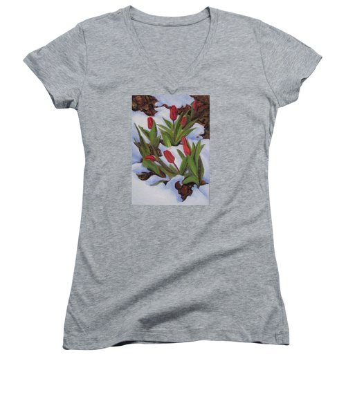 Tulips In Snow Women's V-Neck (Athletic Fit)