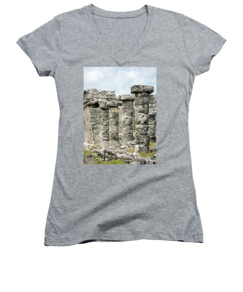 Women's V-Neck T-Shirt (Junior Cut) featuring the photograph Tulum by Silvia Bruno
