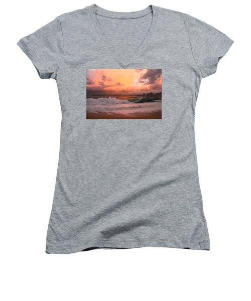 Women's V-Neck T-Shirt (Junior Cut) featuring the photograph Turbulence  by Eti Reid