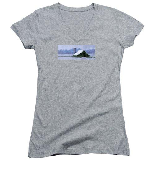 Turner Barn In Brentwood Women's V-Neck T-Shirt (Junior Cut) by Janet King