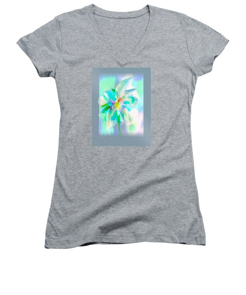 Women's V-Neck T-Shirt (Junior Cut) featuring the digital art Turquoise Bloom by Frank Bright
