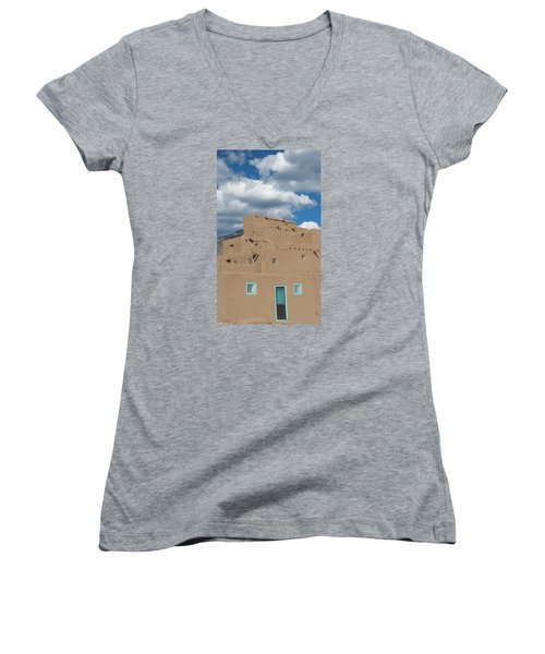 Turquoise Door And Windows Women's V-Neck T-Shirt (Junior Cut) by Elvira Butler