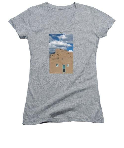 Turquoise Door And Windows Women's V-Neck T-Shirt