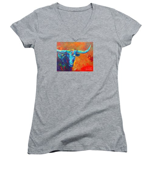 Women's V-Neck T-Shirt (Junior Cut) featuring the painting Turquoise Longhorn by Karen Kennedy Chatham