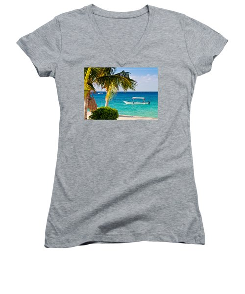 Turquoise Waters In Cozumel Women's V-Neck T-Shirt