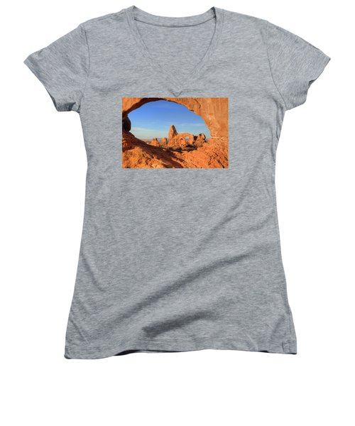 Women's V-Neck T-Shirt (Junior Cut) featuring the photograph Turret Arch Through North Window by Alan Vance Ley
