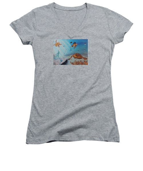 Women's V-Neck T-Shirt (Junior Cut) featuring the painting Turtles At Sea by Dianna Lewis