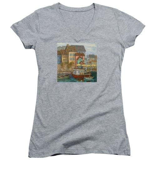 Tuscan Village Boat Paintings Women's V-Neck