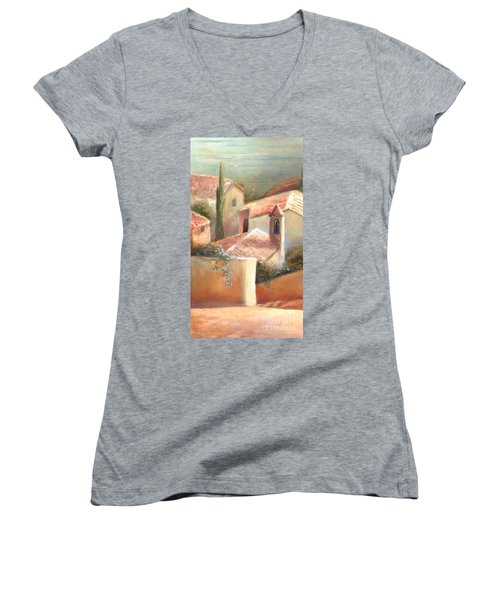 Women's V-Neck T-Shirt (Junior Cut) featuring the painting Tuscan Village by Michael Rock