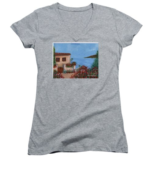 Women's V-Neck T-Shirt (Junior Cut) featuring the painting Tuscany View by Becky Lupe