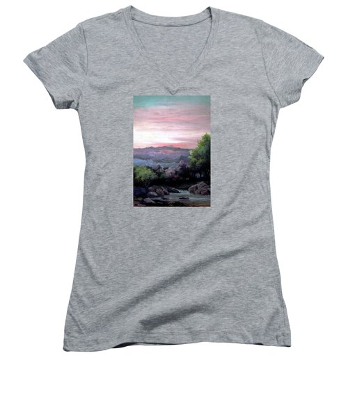 Women's V-Neck T-Shirt (Junior Cut) featuring the painting Twilight by Mikhail Savchenko
